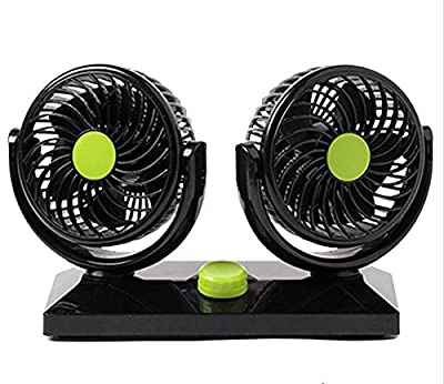 Willcomes Dual Head Car Auto Cooling Air Fan 360 Degree Rotation Powerful Quiet 2 Speed Adjustable Strong Wind Auto Cooling Air Fan with Kids Safe Design