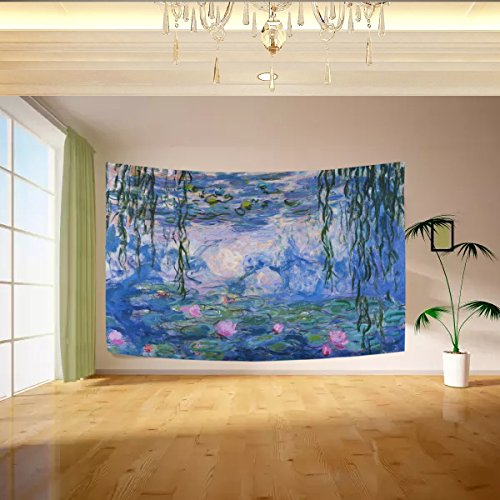 Vipsk Claude Monet Water Lilies Tapestry Wall Hanging Artistic Light-Weight Polyester Fabric Cottage Dorm Wall Art Home Decoration 80x60 inches Blue Wall Decoration