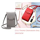 Wallet For Women Girls Crossbody Cell Phone Bag Single Shoulder Pocket Leather Purse Zippered Compartment Pouch Smartphone Grey