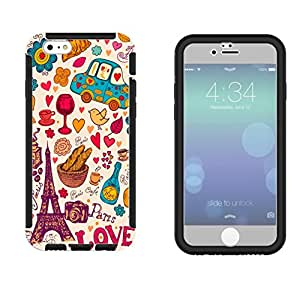 1005 - cool fun cute love paris flowers shabby chic collage fashion Design iphone 6 plus S 5.5'' Full Body CASE With Build in Screen Protector Rubber Defender Shockproof Heavy Duty Builders Protective Cover