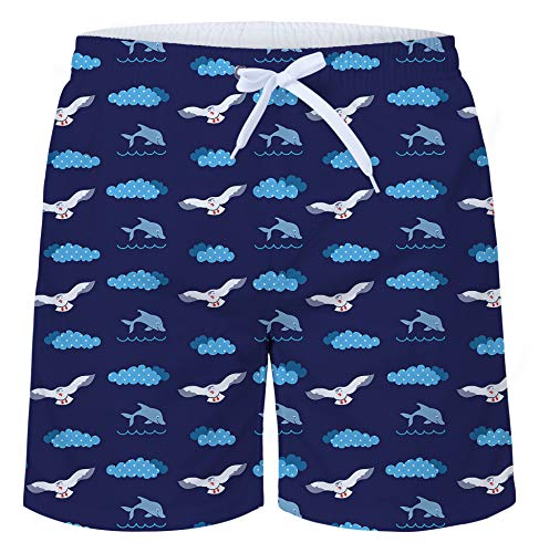 uideazone Mens 3D Print Seagull Graphic Medium Length Summer Casual Athletic Beach Swimming Vacation Surfing Shorts