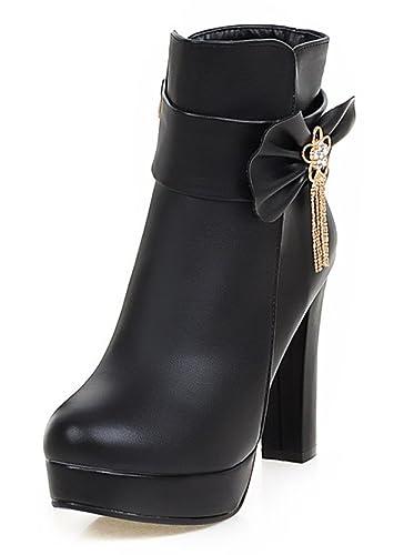 SHOWHOW Damen Süß Schleife Kurzschaft Stiefel Mit Absatz Stiefelette Schwarz 35 EU 0X3tBBVa