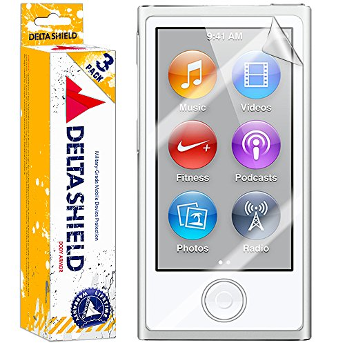 (DeltaShield Screen Protector for Apple iPod Nano (7th Generation)(3-Pack) BodyArmor Anti-Bubble Military-Grade Clear TPU Film)