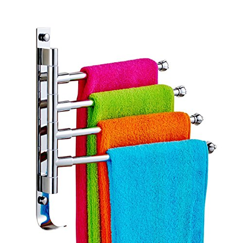 Stainless Steel Towel Holder Swing Towel Holder Wall-Mounted Bathroom Towel Rack Holder With Extra Long 4 Bars Swivel Bars (31x29.5 cm) by Feian (Image #4)