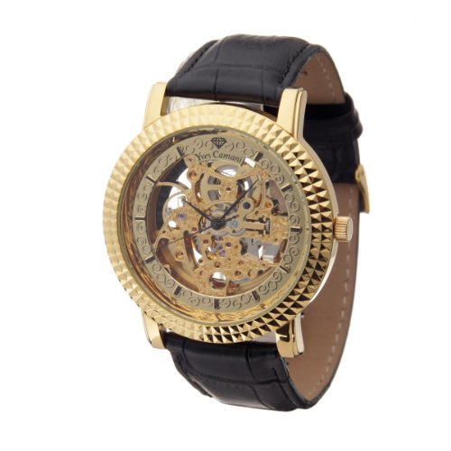 Yves Camani Suburb XL Men's Automatic Watch Gold Plated Leather Strap YC1019-A