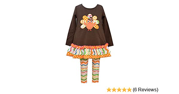 24e7780111ba92 Amazon.com: Bonnie Jean Girls Thanksgiving Turkey Dress Outfit, Brown, 4 -  6X: Clothing