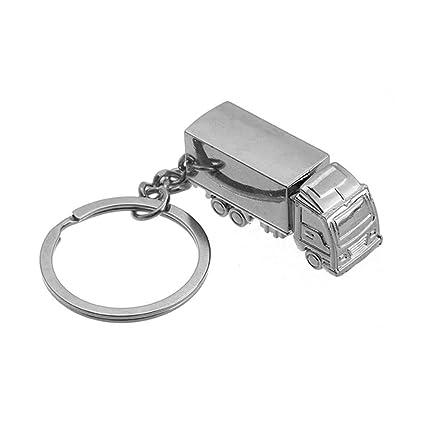 Cute Llaveros camión camión clave estante hombres coche aros de Metal llavero llavero plata 3d llavero titulares de Creative Lovely Key Finder