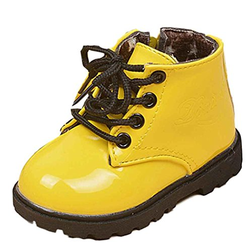 Baby Leather Martin Sneakers,Toponly Sport Artificial Leather Boys Girls Martin Sneaker Winter Thick Snow Baby Casual Shoes 1-3T (Fashion Yellow, 24)