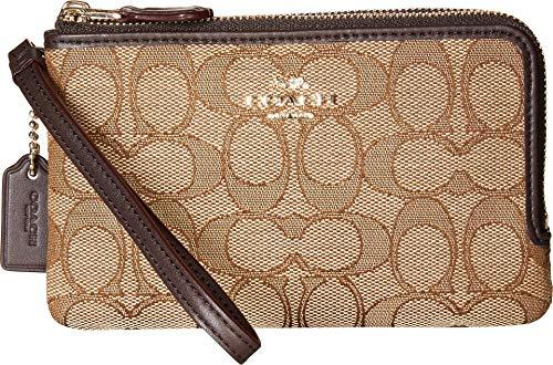 COACH Women s Signature Double Corner Zip Bag LI/Khaki/Brown Cell Phone Wallet