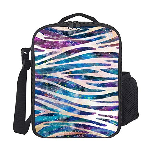 SARA NELL Kids Lunch Backpack Lunch Box Rainbow Zebra Colorful Animal Skin Tie Dye Lunch Bag Large Lunch Boxes Cooler Meal Prep Lunch Tote With Shoulder Strap For Boys Girls Teens Women Adults