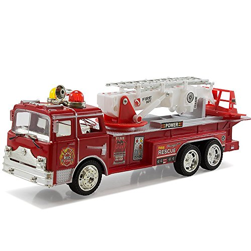 Kids Pedal Plane (Fire Engine Truck Kids Toyl Kids Toy with Extending Ladder & Lights & Siren Sounds Vocal Phrases Bump & Go Action)