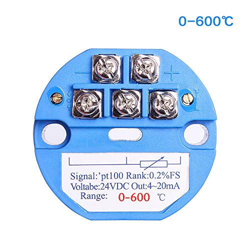 Temperature Sensor Transmitter, 0-600℃ 24V DC 4-20MA RTD PT100 SBW for Integrated Thermal Resistance/Thermocouple PLC Module