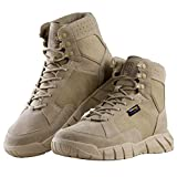 FREE SOLDIER Men's Tactical Boots 6'' inch Lightweight Military Boots for Hiking Work Boots Breathable Desert Boots (Tan, 7)