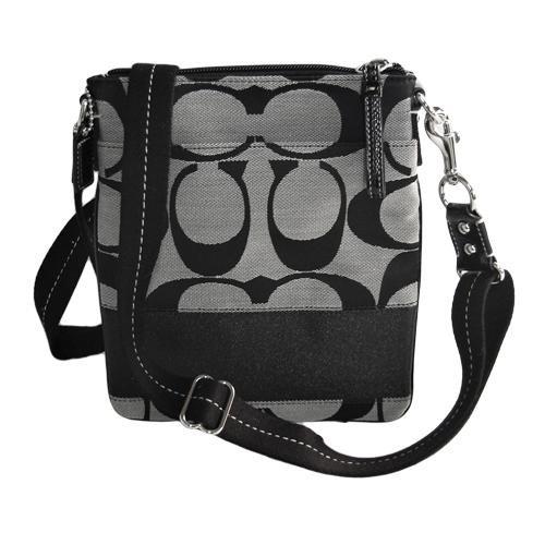 a78db567d2 Coach Signature Stripe Swingpack Crossbody Messenger Bag Purse 42619 Black  White ...