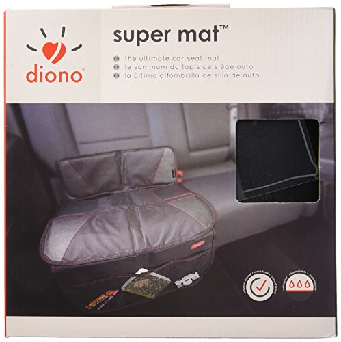 Diono Seat Bottom Protector Super Mat, Protects Car Upholstery from Scratches Dents, Wear and Tear, Water and Dirt Resistant, Front Pockets for Essentials, Black