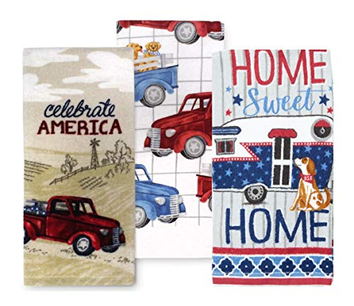 Celebrate America USA Patriotic Home Sweet Home Pickup Truck Camper and Dog Kitchen Towel Set, 3 Cotton Tea Towels Perfect for Dish and Hand Drying