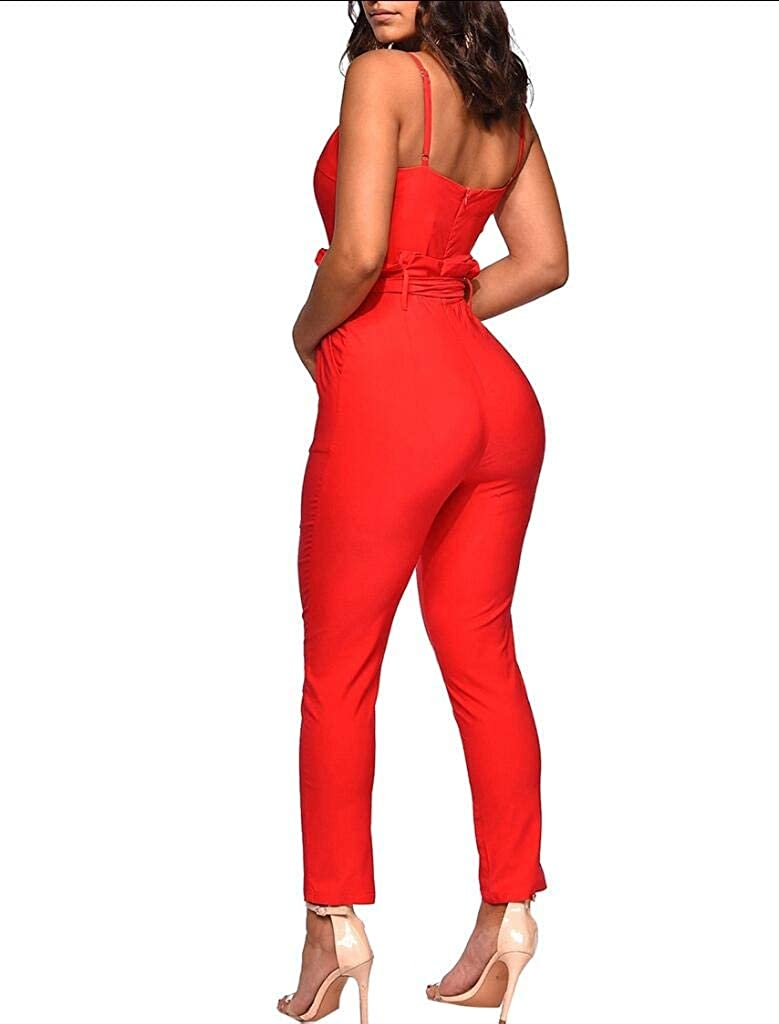 Comaba Women Strap Pockets Jumpsuits Overalls Sleeveless Playsuit Rompers