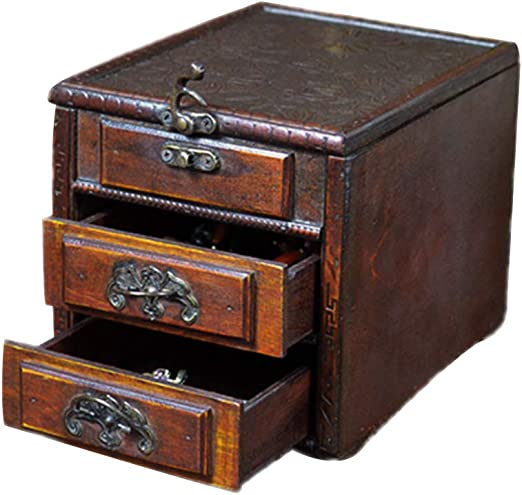 HM&DX Retro Caja joyero Organizador Madera, Espejo Joyería Caja de Almacenamiento con Cajones Antiguas Caja del Tesoro para Don Juego Accesorios-D: Amazon.es: Hogar