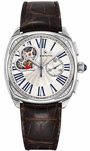 Zenith CENIT Patrimonio Estrella Abierto Plata Dial Brown Cuero Damas Reloj: goldia: Amazon.es: Relojes
