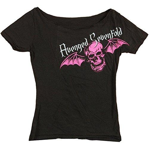 Avenged Sevenfold Women's Pink Death Bat Girls Jr Medium Black