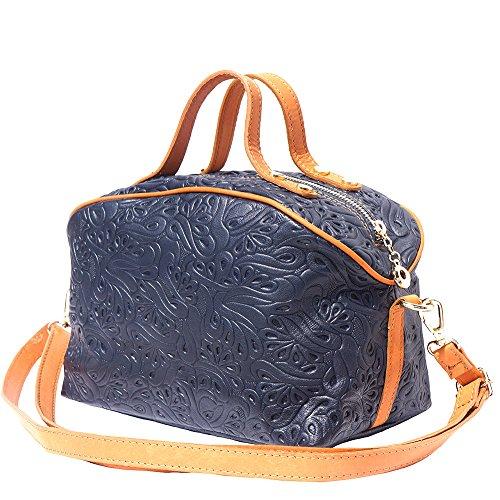 Larga Bolsa Correa Con De Marino Market 301 Leather tostado Azul Florence Maquillaje Cuero HB1qEx8