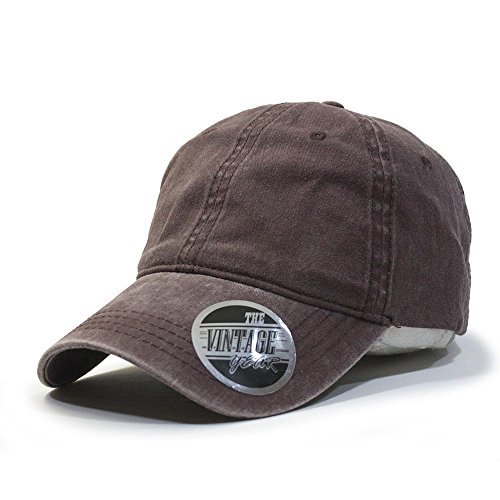 (Plain Washed Dyed Cotton Twill Low Profile Adjustable Baseball Cap (Brown))