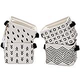 Sea Team Foldable Mini Square New Black and White Theme Natural Linen & Cotton Fabric Storage Bins Simple Desk Shelf Baskets Organizers - Set of 4