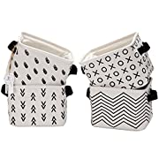 Sea Team Foldable Mini Square New Black and White Theme Natural Linen & Cotton Fabric Storage Bins Simple Desk Shelf Baskets Organizers - Set of 4