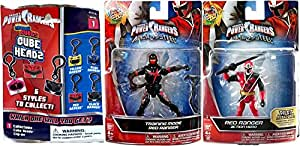 "Power Rangers Red Ranger Saban's Ninja Steel Edition 5"" with Battle Gear 5-Inch Red Ranger with Sword & Training Mode 2-Pack Action Hero Figure + Bonus Blind Bag Cube Head Clip on Hanger & Accessory"