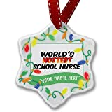 Personalized Name Christmas Ornament, Worlds hottest School Nurse NEONBLOND