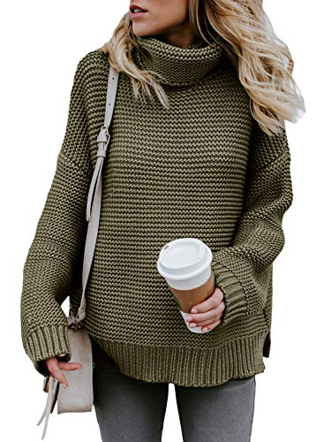 (Asvivid Womens Solid Long Sleeve Turtleneck Knitted Pullover Comfy Loose Jumper Sweater Tops Small Green)