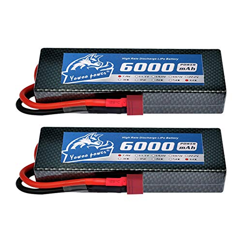 YOWOO 2S Lipo Battery, 7.4V RC Lipo Batteries 6000mAh 60C HardCase with Deans T Plug for Losi Traxxas Slash Team Associated RC Car, 1/10 Scale Traxxas Stampede VXL 4x4, 1/8 NHRA Funny Car RTR (2 Pack)