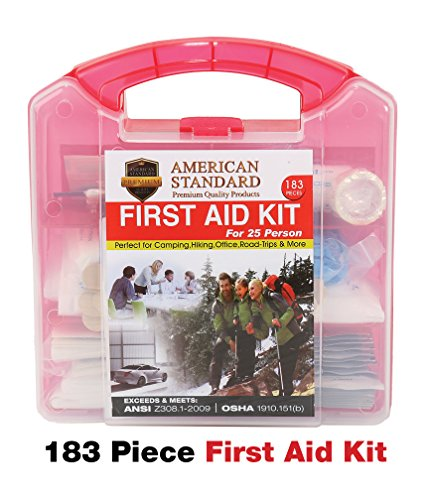 American Standard 25 Person First Aid Emergency Kit - Durable Plastic Case, FDA Approved Medical Safety Supplies for Home, Car, Office, Outdoors, Camping, Hiking, Backpacking, Survival & Sports 183pc
