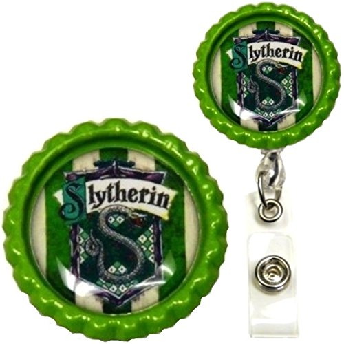 Harry Potter Hogwarts House Inspired Symbol Decorative ID Badge Holder (Slytherin Swivel Alligator) (Slytherin Symbol)