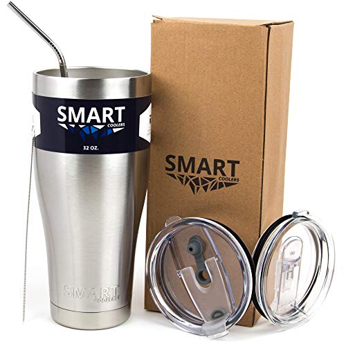 Tumbler 32 Oz Smart Cup - Ultra-Tough Double Wall Stainless Steel - Yeti Style - Premium Insulated Mug - Powder Coated - Leak-Proof, Sliding Lid, Straw, Brush & Gift Box - Stainless Steel (Bigfoot Java)