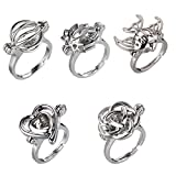 HENGSHENG 5 PCS Mixed Shape Hollow Locket Rings Mountings Cage Charms Rings for Women (5 PCS)