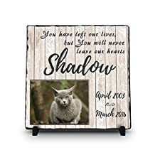 Custom Pet Memorial Stone | Pet Remembrance Slate | Memorial Plaque | Personalized Dog / Cat Photo Stone | You Have Left Our Lives But You Will Never Leave Our Hearts (Square 11.5x11.5)