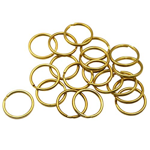 - Okones Pack of 30 Pcs,1'' Diameter,Leather handmade Factory Split Solid Brass Antique Key Ring (1'' (25mm))