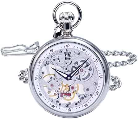 Regent Hills Vintage Silver Brass Case Mechanical Open Face Skeleton Pocket Watch With Chain 9483CP(A1)