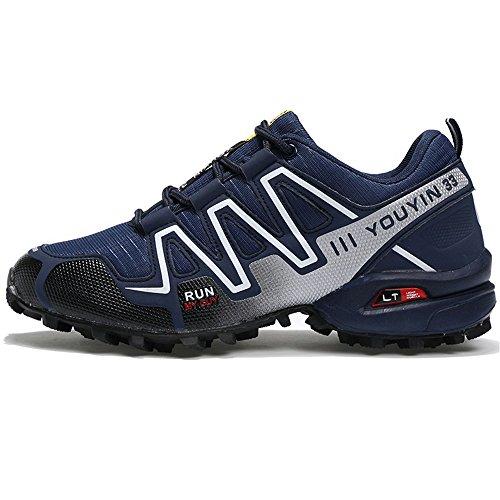 con Oscuro de Oscuro Casual Hombres shoes Cordones Xiaojuan Calzado Color Ocio para Plano Deportivos tamaño Azul 42 Zapatos con Cordones EU y atlético Azul gUx674WFx