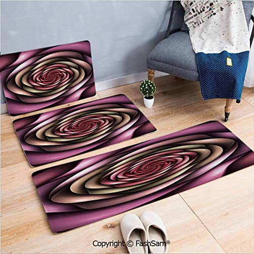 3 Piece Fashion Flannel Door Mat Carpet Rose Petals Curved Winds Around Fixed Center Point at Increasing Digital Decor for Door Rugs Living Room(W15.7xL23.6 by W19.6xL31.5 by W35.4xL62.9) ()