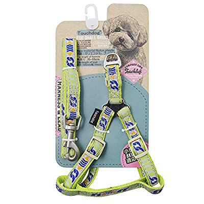 Touchdog Durable Safe Strong Soft Adjustable Matching Nylon Dog Harness and Leash Set for Small Medium Dogs and Puppies Great for Walking Training