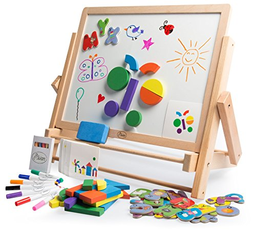Double-Sided Tabletop Art Easel 80pc Activity Set for Kids - Magnetic Whiteboard & Chalkboard w /Dry Erase Markers, Alphabet Phonic Letters, and Shapes (Learning Easel)