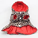 TXIN Pets Dog Coats, Puppy Leopard Dress Hoodie Shirt For Small Dogs Winter Warm Clothes-L