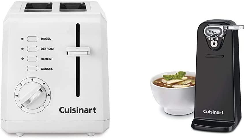 Cuisinart CPT-122 2-Slice Compact Plastic Toaster (White) & CCO-50BKN Deluxe Electric Can Opener, Black