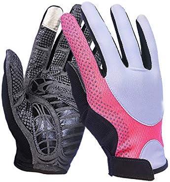 手袋 日常 実用 UPF50 +男性と女性の薄いセクション通気性滑り止め指グローブアウトドアスポーツクライミング (Color : PINK, Size : M-One pair)