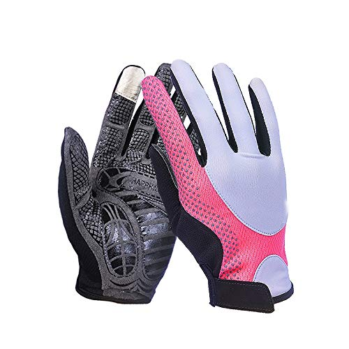 Comfortable UPF50+ Men and Women Thin Section Breathable Non-Slip Finger Sun Protection Gloves Outdoor Sports Climbing Durable (Color : Pink, Size : M-Five Pairs)