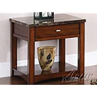 Acme 80021 Jas Faux Marble Lift Top End Table, Cherry Finish