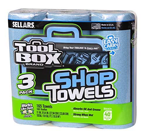 Sellars 54483 Toolbox Shop Towels 3-Pack, 11 Length x 9.4 Width, Blue (8 Packs of 3 Rolls, 55 Sheets per Roll)