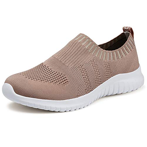 TIOSEBON Women's Walking Shoes Lightweight Mesh Slip-on- Breathable Running Sneakers 6.5 US Apricot